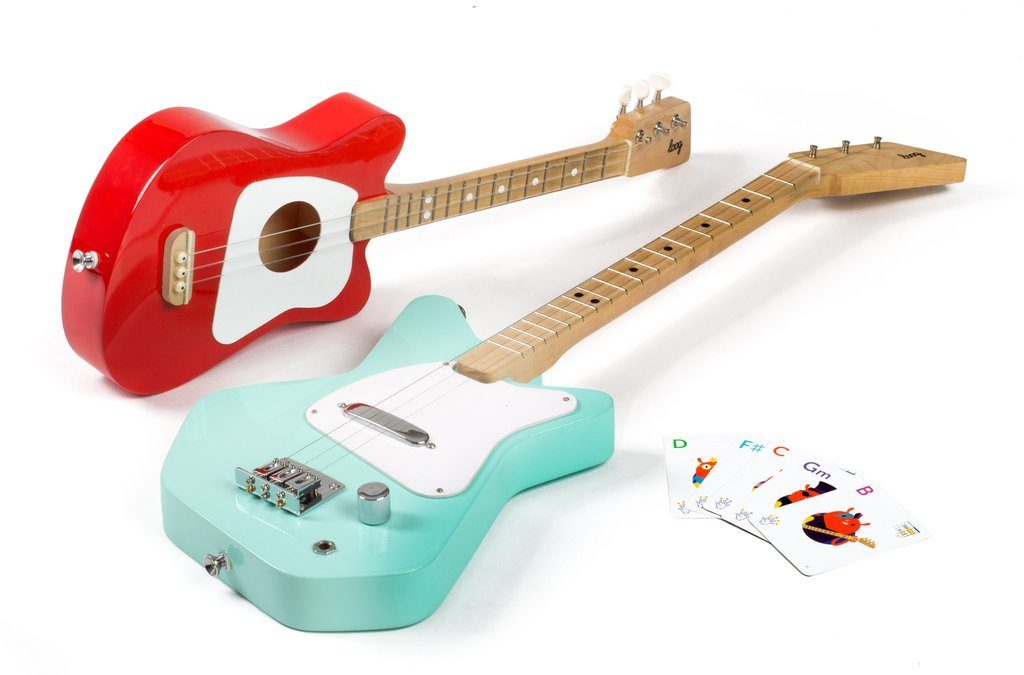 Loog Guitars pictured. Learn to play the guitar. Ages 3+